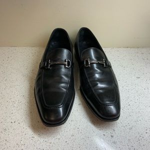 Salvatore Ferragamo Black Leather Loafers 9.5 3E